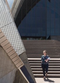 Heritage student on the Opera House steps