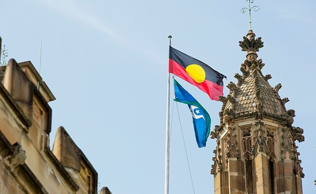 Aboriginal and Torres Strait Islander flags in the quad