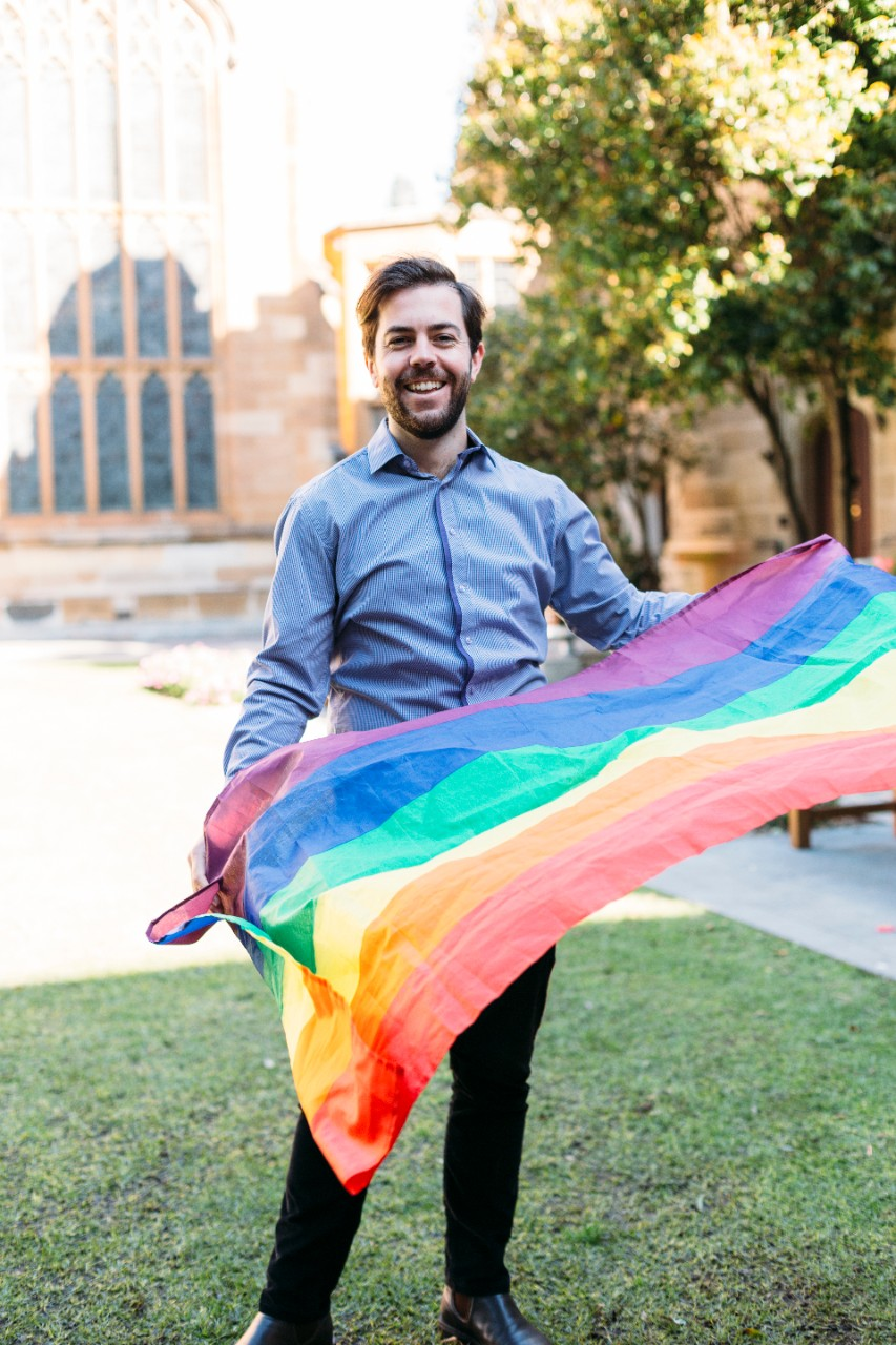 Jack Crane with rainbow flag