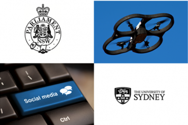 NSW parliament and University of Sydney logos, drone and keyboard collage