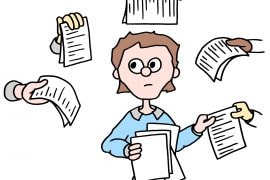 Cartoon illustration of a person holding a pile of paper and receiving written paper from different hands surrounding her.