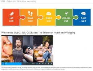 Home page for The Science of Health and Wellbeing OLE unit