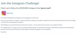 Screen shot of the GEOS Instagram Challenge page