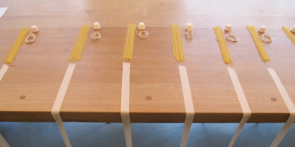 Raw materials for Marshmallow Challenge