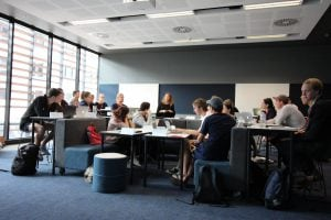 View of a group using seminar room 2280 in the Abercrombie building
