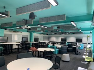 View of Learning studio room 158 showing the configuration of furnishings