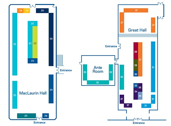 MacLaurin Hall, Great Hall and Ante Room maps