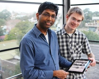 Students Ashnil Kumar and Shane Dyer annotate medical images
