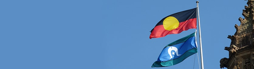 Photo of Aboriginal and Torres Strait Islander flags.