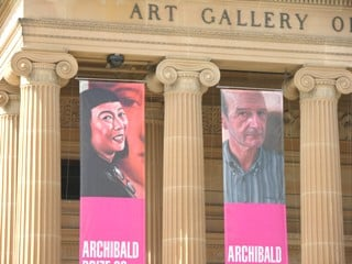 Flying high outside the gallery - an image from Xie's portrait of Lee (left).