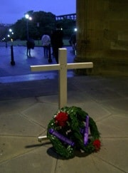 The Anzac wreath at the entrance to the Quadrangle