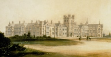 Conrad Marten's watercolour of Blacket's design for the University, 1854