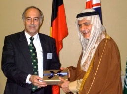 Professor John Hearn, Deputy Vice-Chancellor, International (left) with HRH Prince Turki Al Faisal from the Kingdom of Saudi Arabia