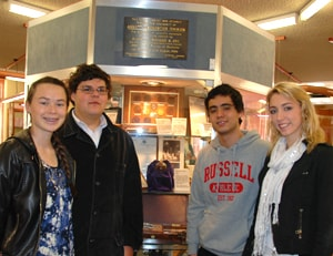 (L-R) The students Sarah-Rebekah Clark, Jason Sines, Luigi Zolio and Olivia Coleman.