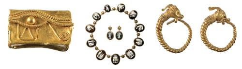 (L-R) Gold amulet, Eye of Horus, Egypt, Ptolemaic Period, 332-30 BC, Nicholson Museum, University of Sydney, NM65.66; Antique cameo necklace and earrings, France, 1830s, Private Collection of Anne Schofield AM; Gold earrings, antelope head terminals, Greece, 3rd century BC, Classics Museum, Australian National University, 86.01. All photographs taken by Phil Rogers.