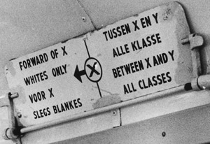 A sign on a South African bus during apartheid.