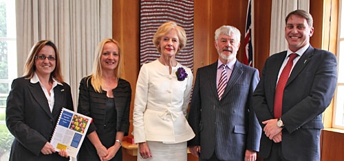 (L-R) Sister Marilia Pereira, Associate Professor Sharon Naismith, Governor-General Quentin Bryce, Roger Norton, Dr Simon Lewis.