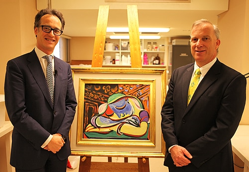 Olivier Camu, International Director and senior specialist in Impressionist and Modern Art from Christies in London (left), with Dr Michael Spence, Vice Chancellor and Principal of the University of Sydney (right).