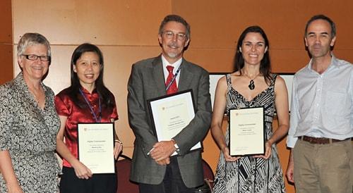 (L-R) Professor Jill Trewhella, Meidong Zhu, Georges Grau, Meika Foster and Malcolm France