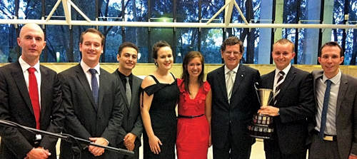 (L-R) Dr Tim Stephens, Patrick Bateman, Chris Beshara, Natalie Zerial, Chelsea Tabart, Chief Justice Robert French, Patrick Wall and Glenn Kembrey.