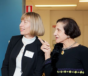 (L-R) Professor Kathryn Refshauge and Chancellor of the University of Sydney, Professor Marie Bashir touring the new lab.