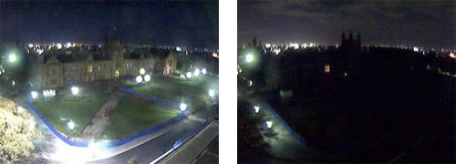 The Quadrangle before and after the lights were switched off for the 2008 Earth Hour.