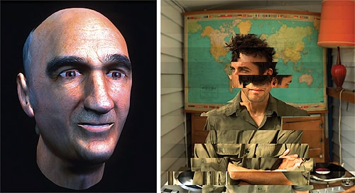 (L-R) 'Prosthetic Head', by Stelarc (2003); Portrait #2 (Chris), by Daniel Crooks  (2007).