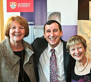 Professors Jill White AM (left) and Kate White (right) with Professor Michael Boyer, Director of the Sydney Cancer Centre.