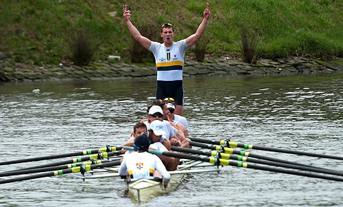 V for victory: Sydney's men's eight crosses the finish line in first place.