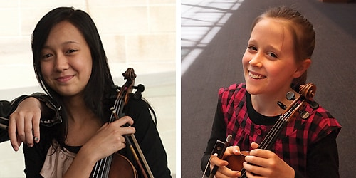 (L-R) Anna Lisa Da Silva Chen, 15 and Grace Clifford, 13, will be competing in the 'Olympics for young violinists'.