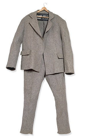 Joseph Beuys; 'Filzanzug (Felt Suit) 1970'; felt, cotton, ink on synthetic fabric and metal safety pins; edition 69/100; JW Power Collection, University of Sydney, managed by Museum of Contemporary Art.