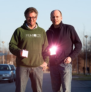(L-R) Associate Professor Tim Schmidt and his research partner Dr Klaus Lips at the Helmholtz Centre for Materials and Energy have made a breakthrough in solar cell technology. [Image: HZB/Philipp Dera]