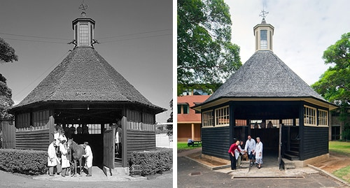 Left: The Round House in the mid-20th century, as captured by famed photographer Max Dupain. Right: The Round House today.