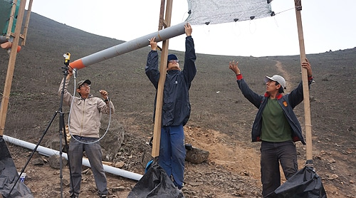 "Andrew Yeo (centre): ""These fog-catchers are easy to build and are assembled on site."""