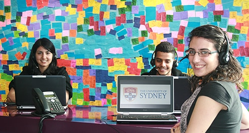Students taking part in the Sydney Development Fund's telephone fundraising program.