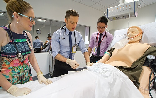 The new facility's cardiac resuscitation training laboratory features a hi-tech manikin can be connected to monitors, injected with drugs or given cardiac massage.