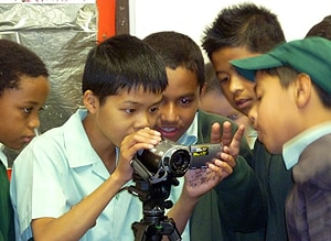 School children participating during a Compass event