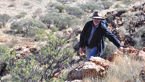 Peter Waterhouse at Eagle Rock, Western Australia, where the Nicotiana benthamiana plant grows.