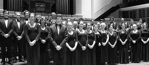The 35-member Sydney Conservatorium Chamber Choir include a mix of musicians and non-musicians from across the University of Sydney.