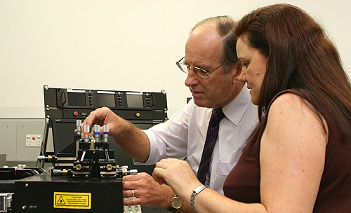 Professor Warwick Britton and Dr Bernadette Saunders with some of the equipment in the new $1.2m TB lab. [Image: Centenary Institute/Katherine Finch]