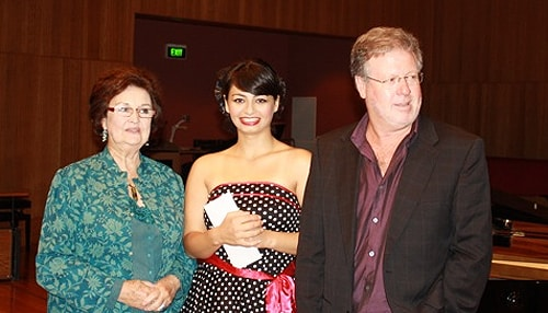 Winner of the 2012 Joan Carden Award, Agnes Sarkis (centre) with Joan Carden AO OBE and Christopher Bowen OA