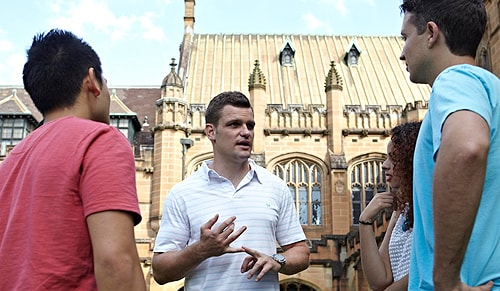 "Rugby league star Corey Payne (centre): ""University study is open to everyone."""