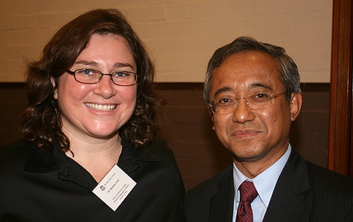 Associate Professor Michele Ford Director of the Sydney Southeast Asia Centre and the former Indonesian Consul General Mr Sudaryomo Hartosudarmo.