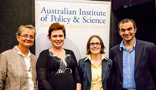 NSW Young Tall Poppy Science Award winners Associate Professor Renae Ryan (second left) and Dr Tara Murphy (second right) with their award nominators Professor Carol Armour (far left), Associate Dean for Career Development in the Sydney Medical School, and Professor Bryan Gaensler (far right), Director of CAASTRO.