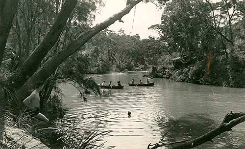 Boating at Lane Cove National Park. State Records NSW. Image courtesy of State Library of NSW.