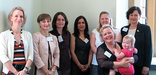 (L-R) Equity Fellowship recipients Dr Lenka Munoz, Dr Corinne Caillaud, Dr Sarah Mansfield, Associate Professor Parisa Aslani, Dr Natalie Munro, Dr Suncica Lah and (front) Dr Marina Robinson.