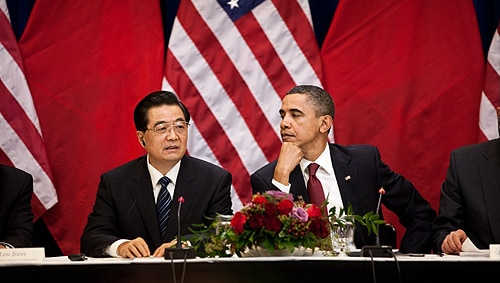 Hu Jintao with Barack Obama. [Image: Samantha Appleton]