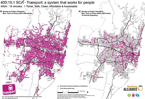 Public transport access in Sydney - within 400 metres (left), and within 400 metres with at least 15 minute frequency (right). Map produced by Laurence Troy and Kurt Iveson for the Sydney Alliance.
