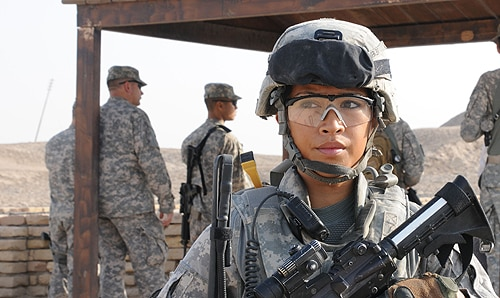 """Combat is seen as the most valuable and heroic kind of role in the military, and protecting that as a male-only environment is detrimental for women,"" says Dr Megan MacKenzie. [Image: Flickr/dvidshub, used under the Creative Commons License]"