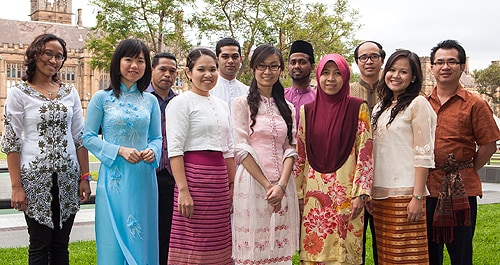 University of Sydney students from Southeast Asia attending the launch of the Sydney Southeast Asia Centre wearing their national dress. [Image: Jamie Williams]